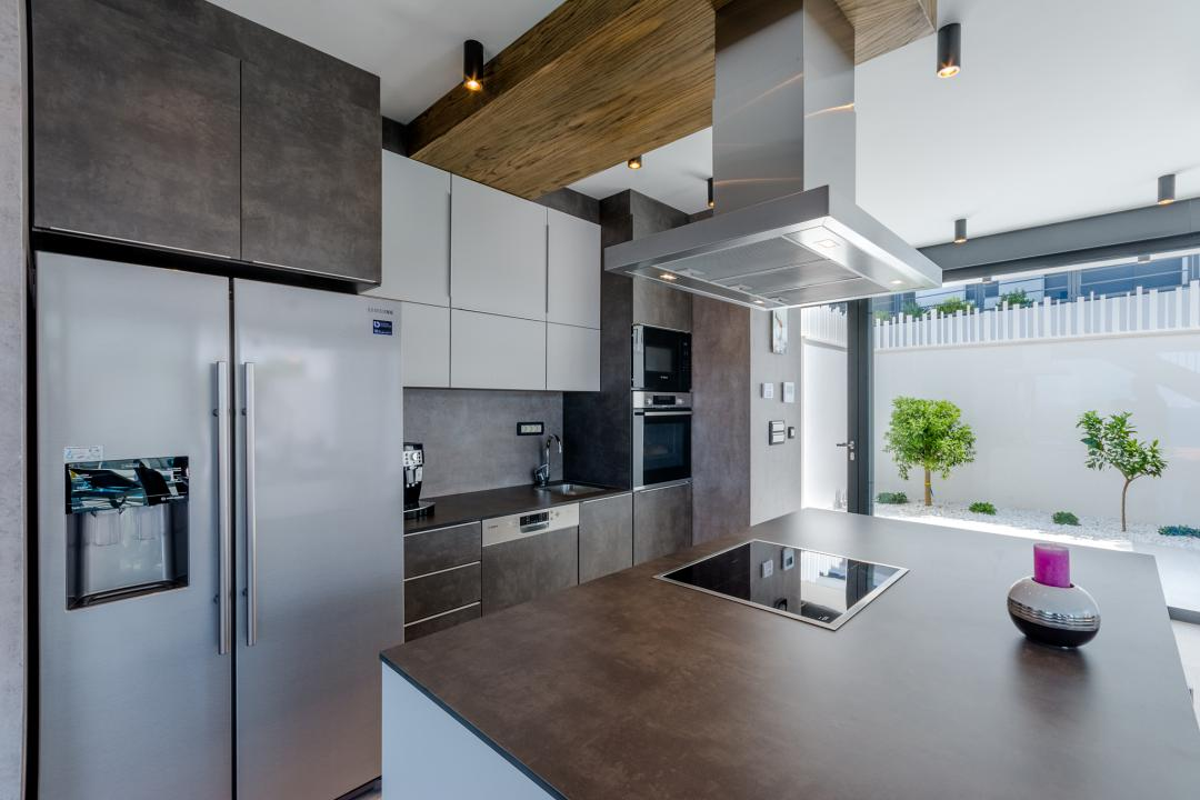 A modern kitchen with appliances